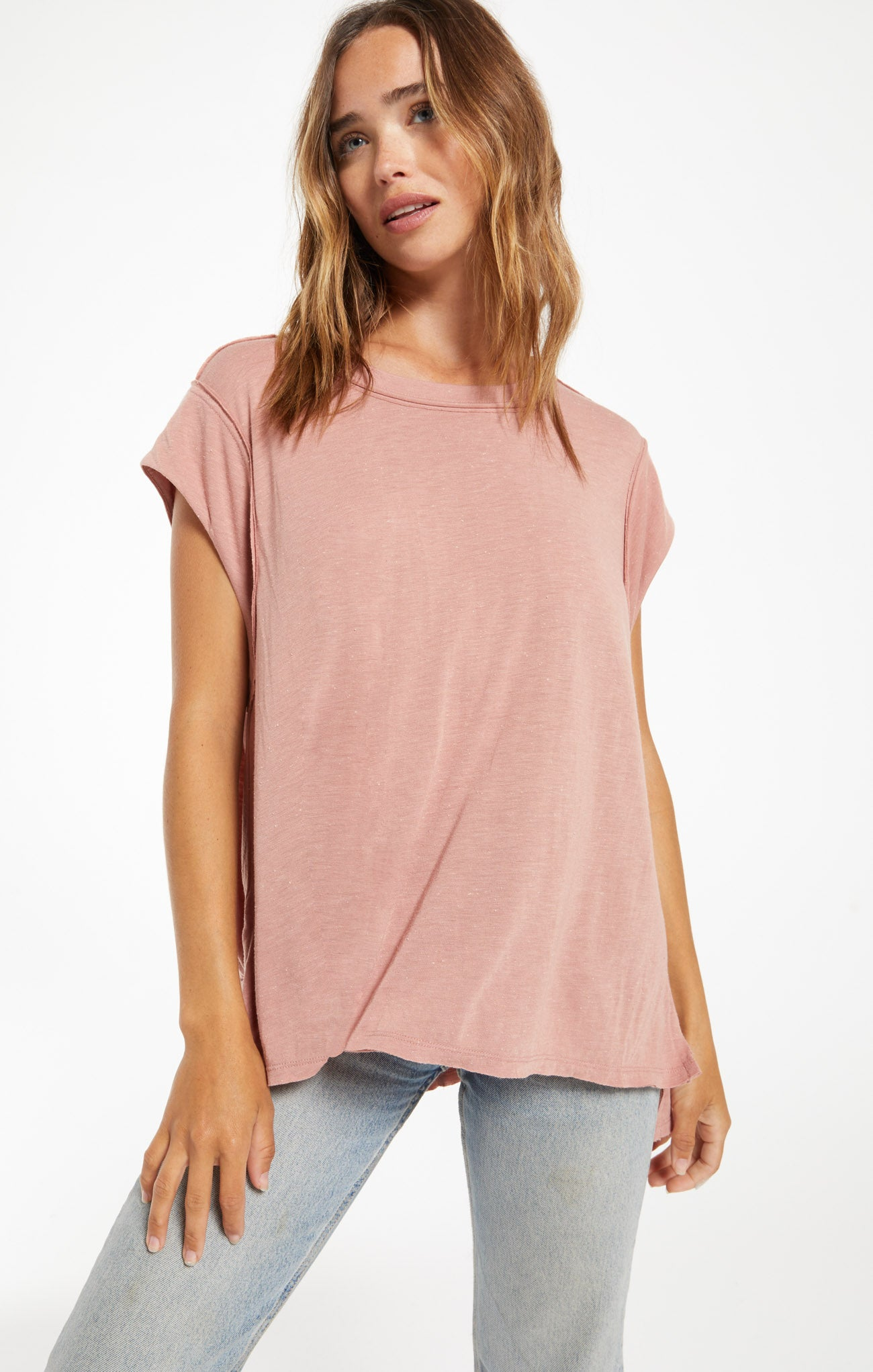 Tops Riley Speckle Tee Wild Rose