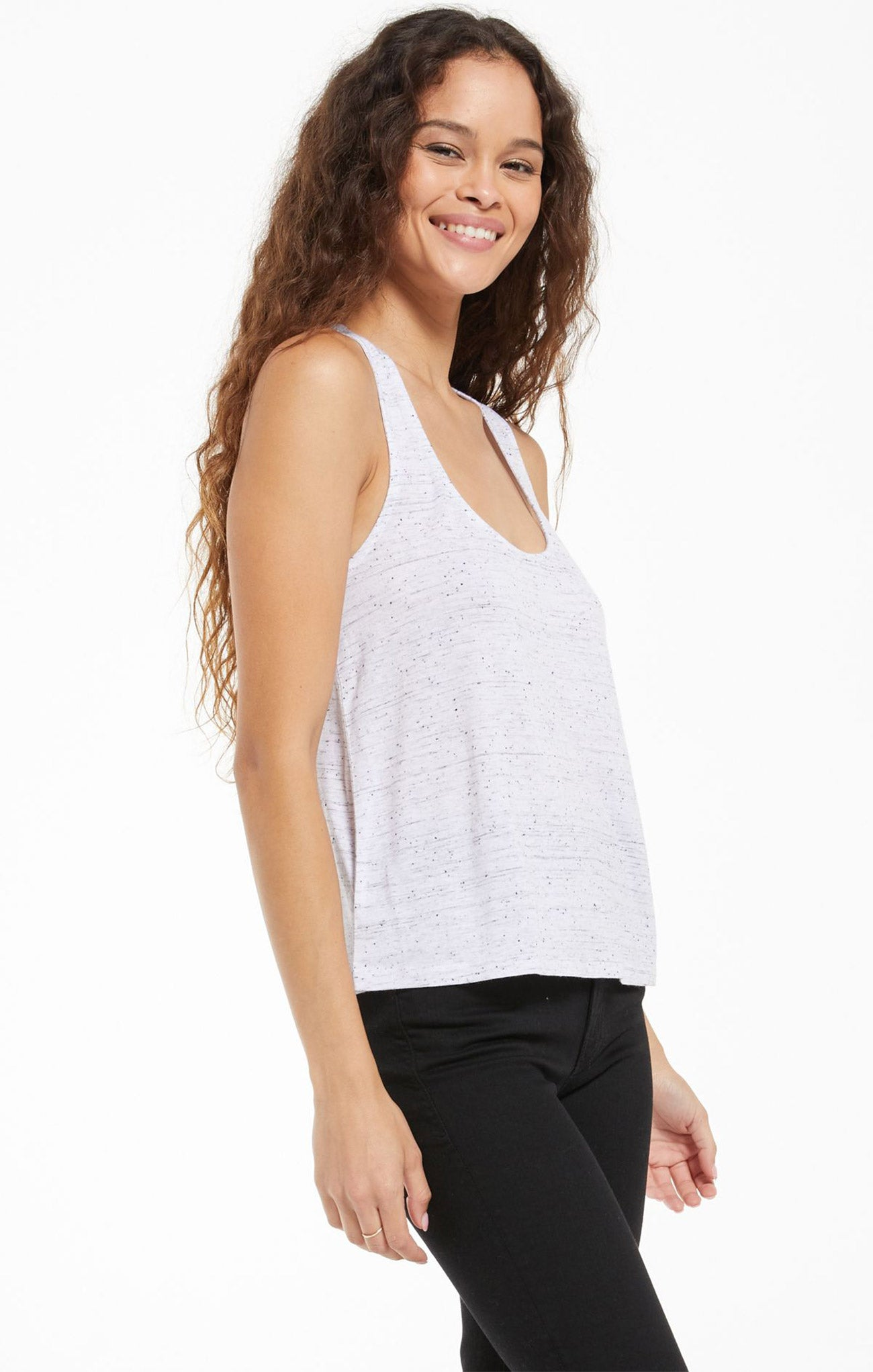 Tops Sloane Racer Back Speckle Tank White
