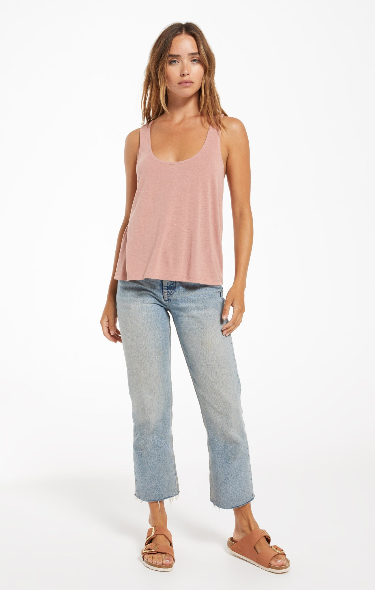 Tops Sloane Racer Back Speckle Tank Wild Rose
