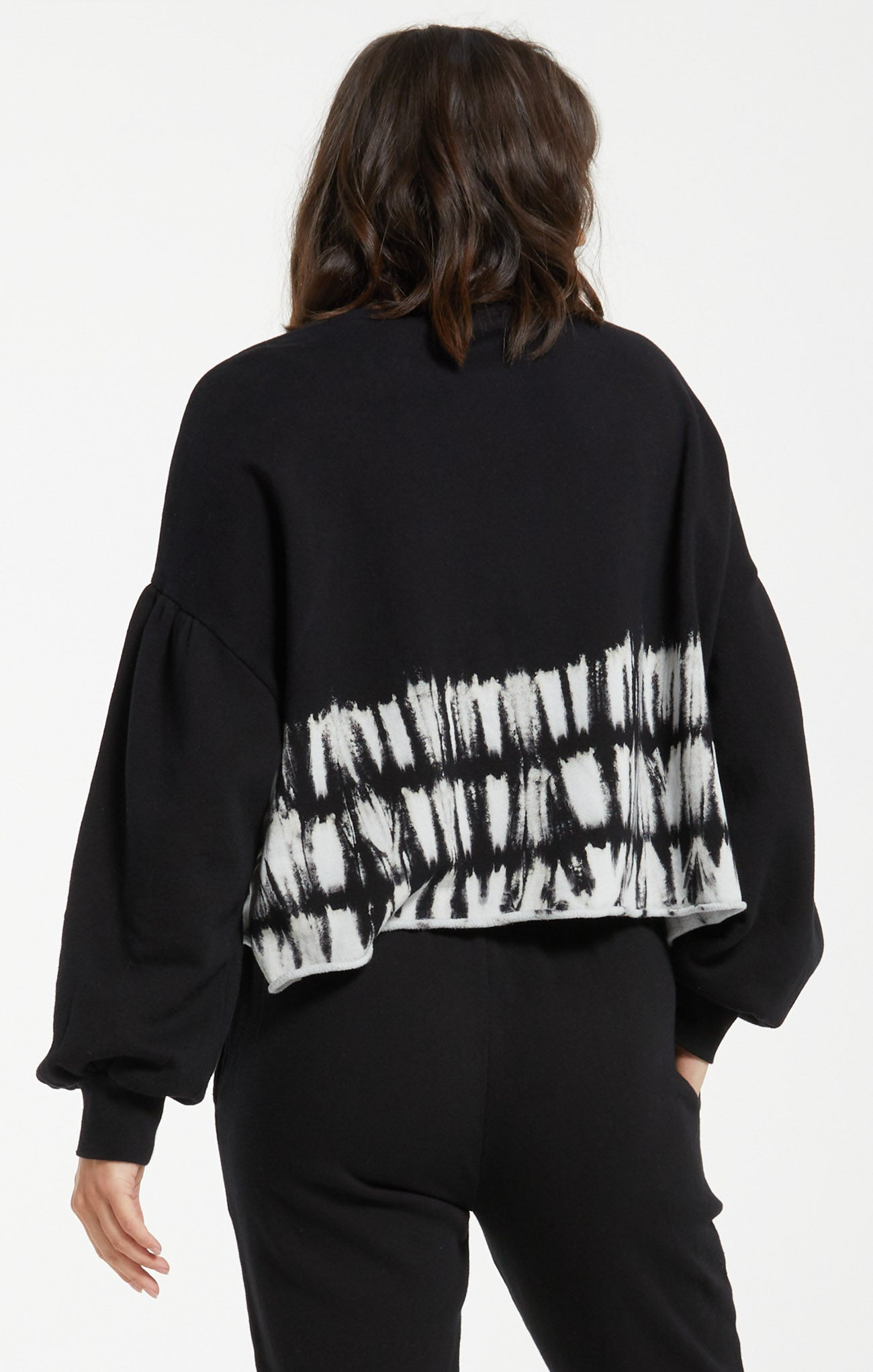 Tops Tempest Stripe Tie-Dye Fleece Pullover Black