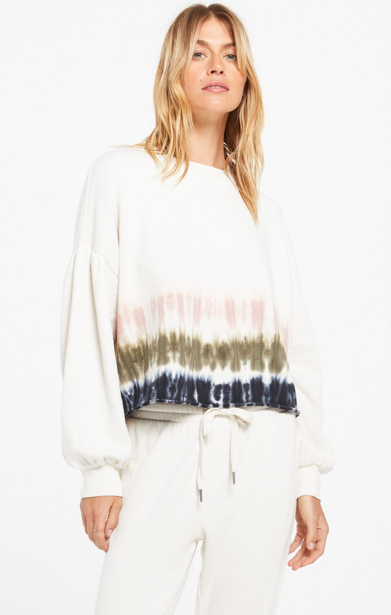 Tops Tempest Stripe Tie-Dye Fleece Pullover Bone