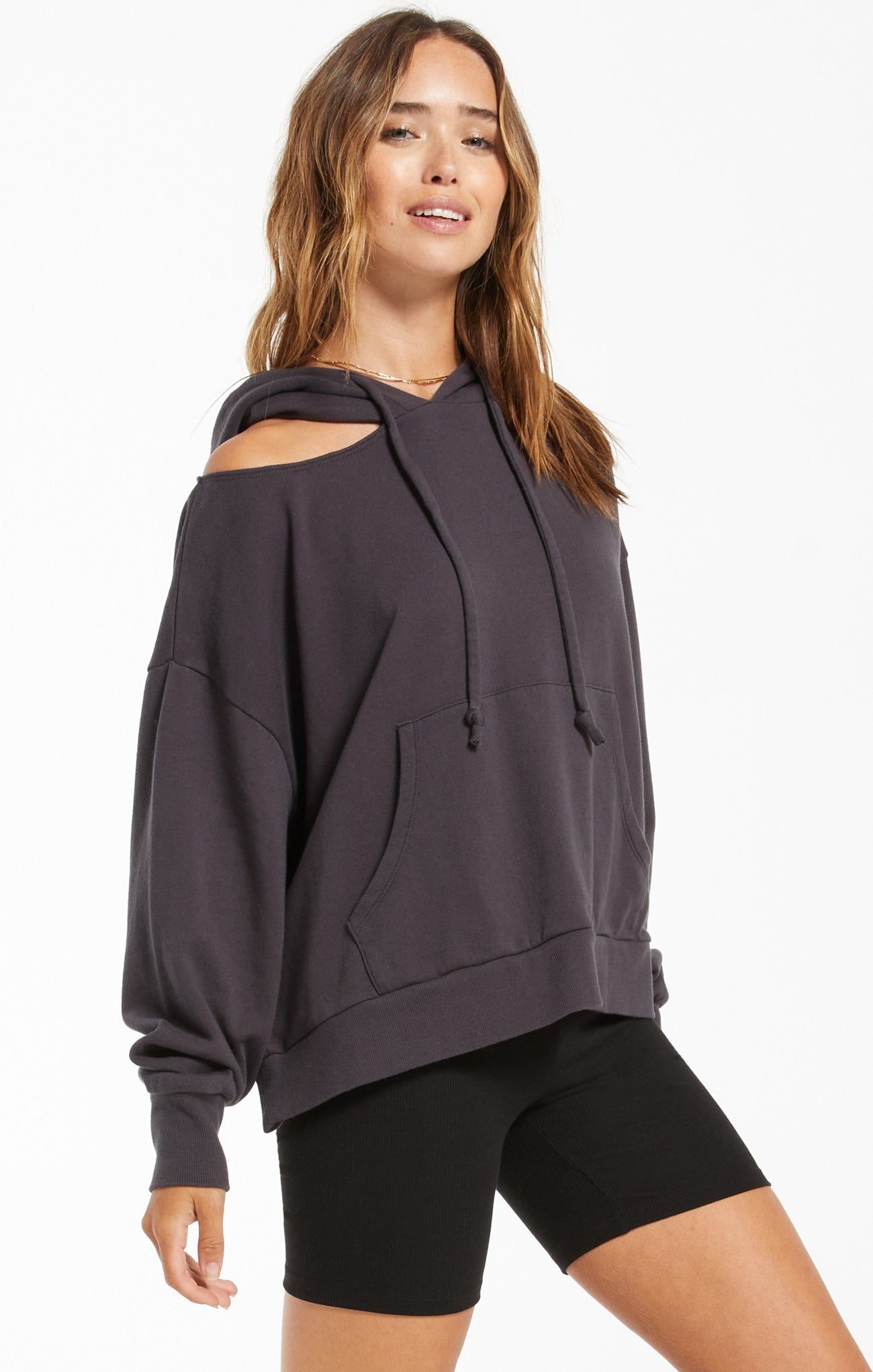 Tops Jerri Cut-Out Terry Sweatshirt Washed Black