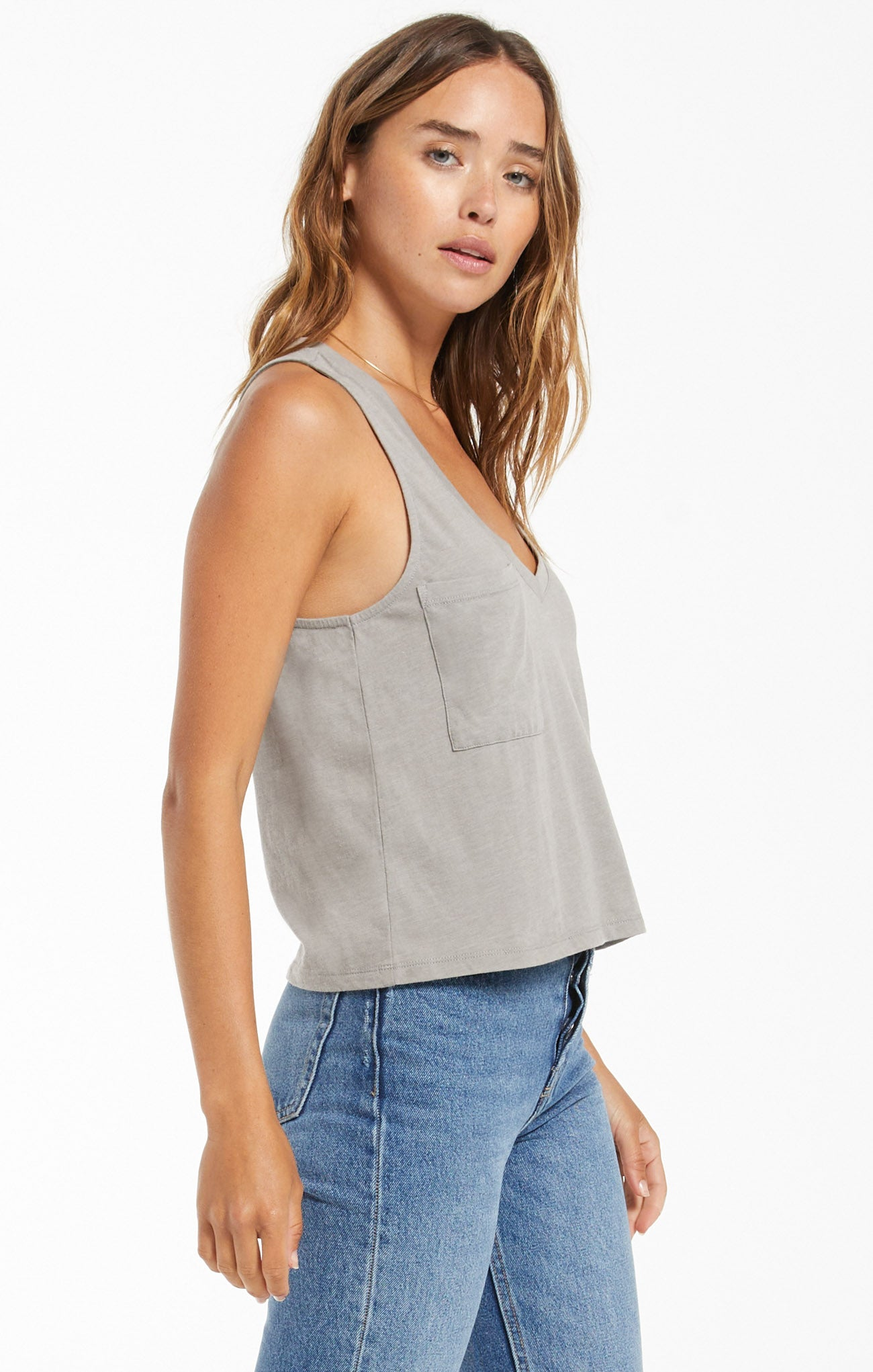 Tops Skimmer Pocket Tank Dusty Sage