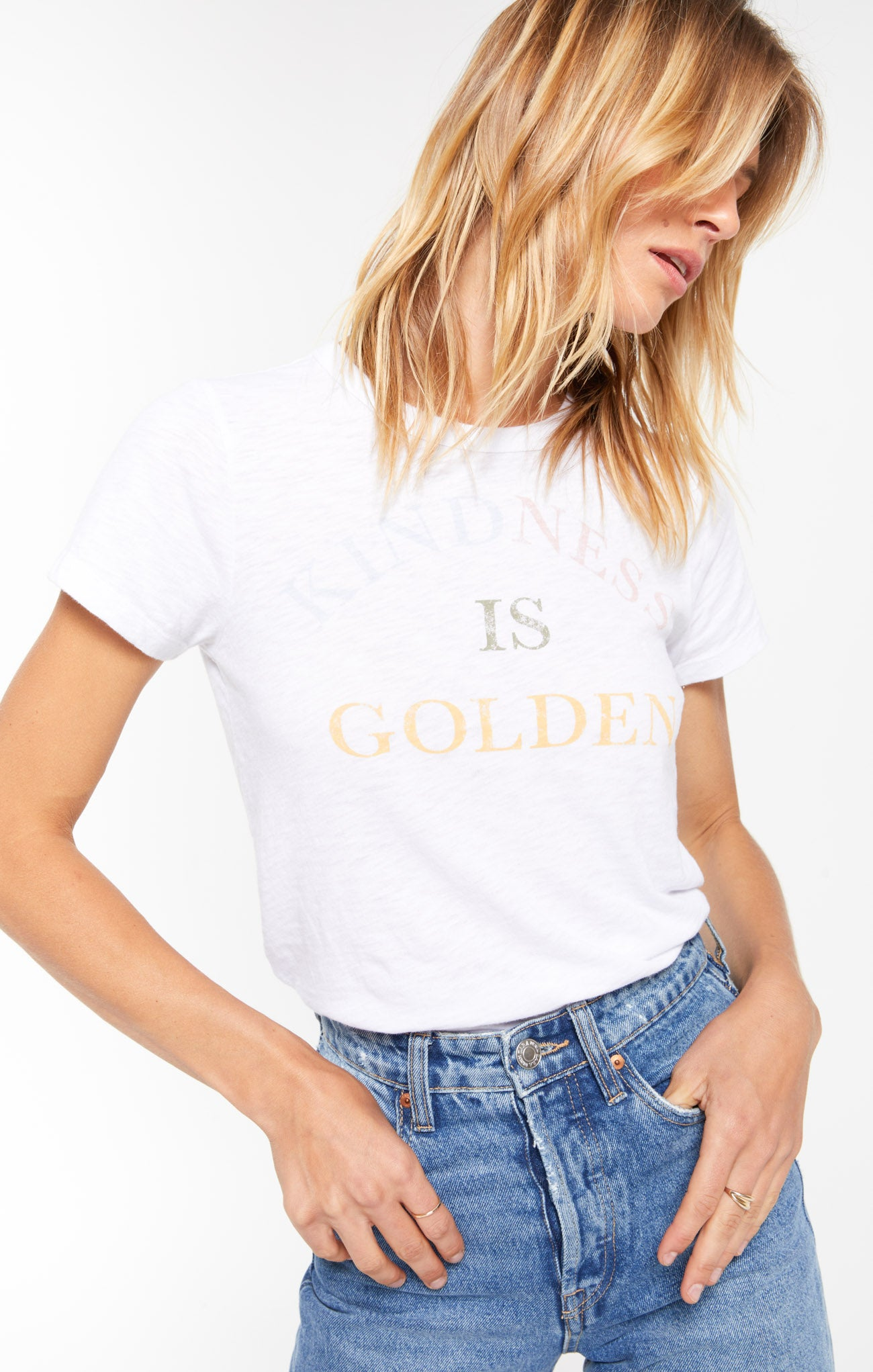 Tops Kindness Is Golden Tee White