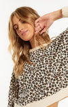 Tops Brushed Leopard Pullover Natural Combo