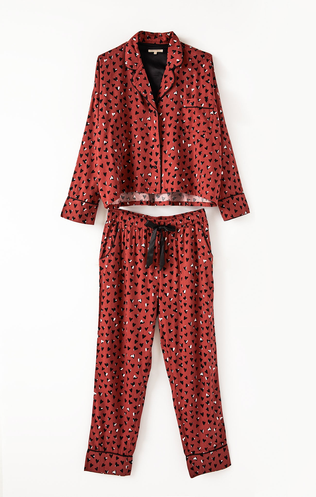 Tops Dream State Heart PJ Set Rosy Red