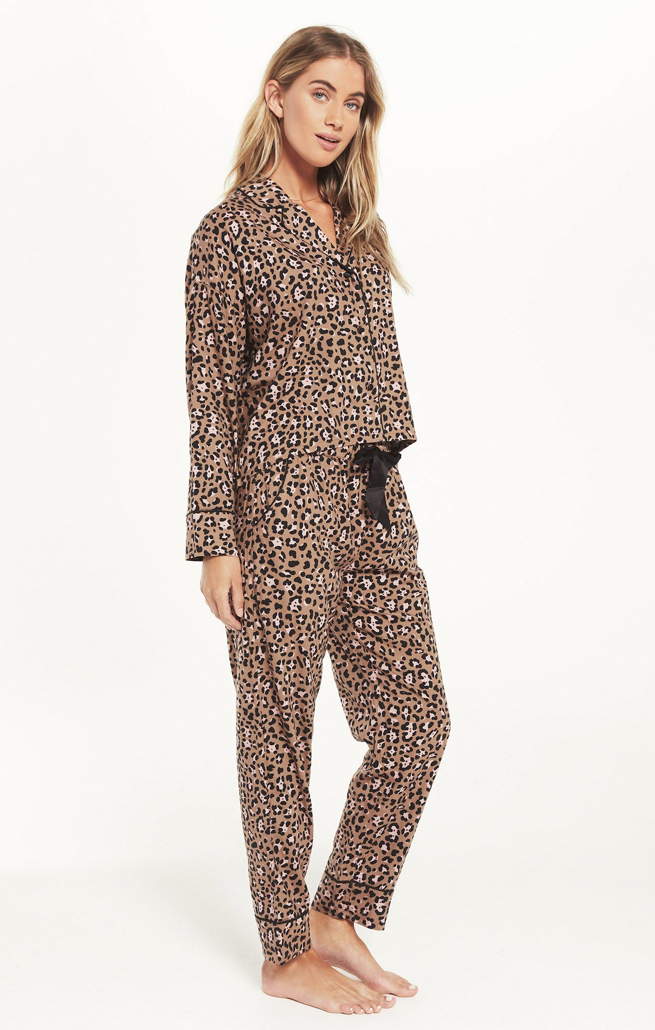 Tops Dream State Leopard PJ Set Toast