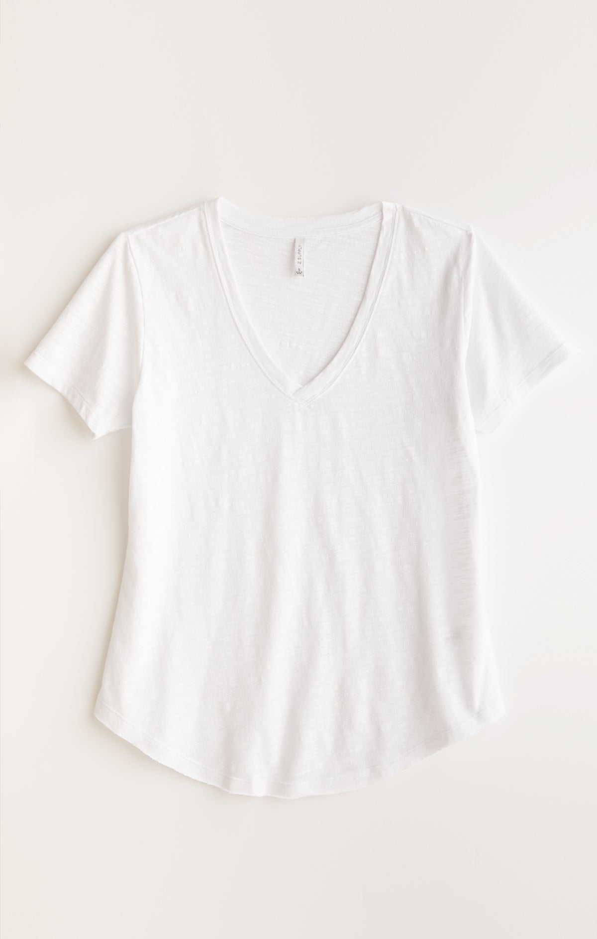 Tops Airy Slub Short Sleeve V-Neck Tee White