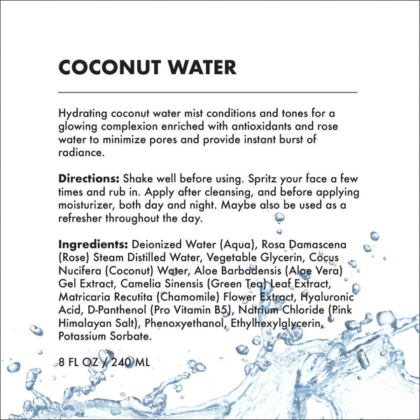 FACE & BODY MIST - COCONUT WATER WITH HYALURONIC ACID  | HYDRATING (8 OZ)-Multi-purpose -Provence Beauty Skincare