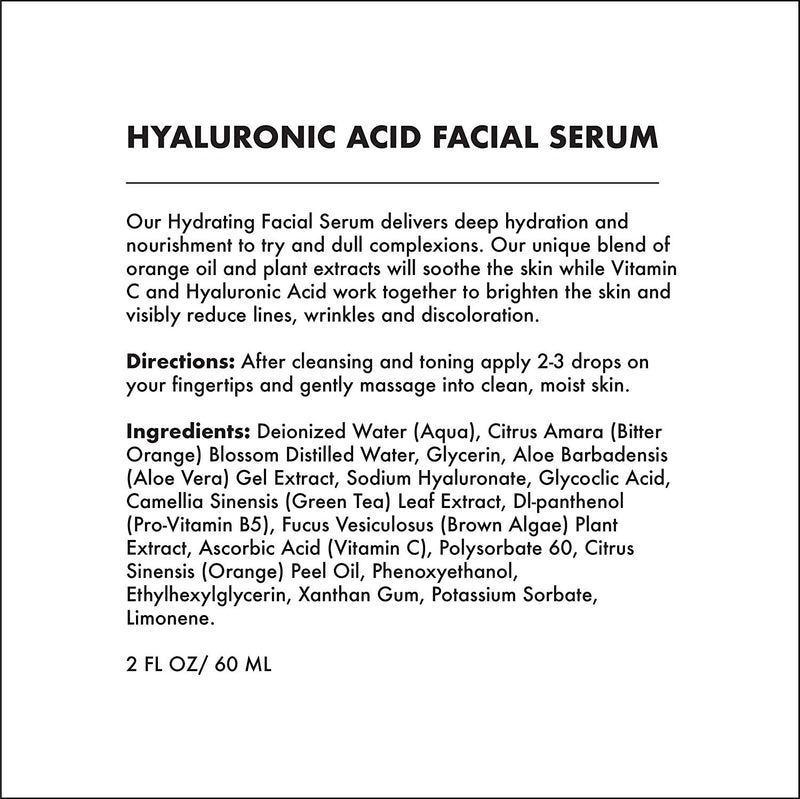 VITAL ESSENTIAL FACIAL SERUM - HYDRATING HYALURONIC ACID (2 OZ)-Facial Oil -Provence Beauty Skincare