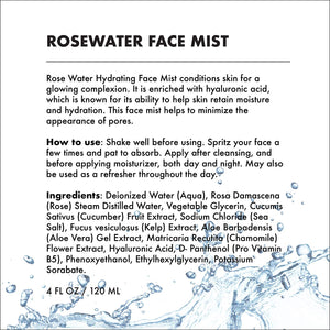 HYDRATING FACIAL MIST - ROSE WATER + HYALURONIC ACID (4 OZ)-Facial Mist -Provence Beauty Skincare