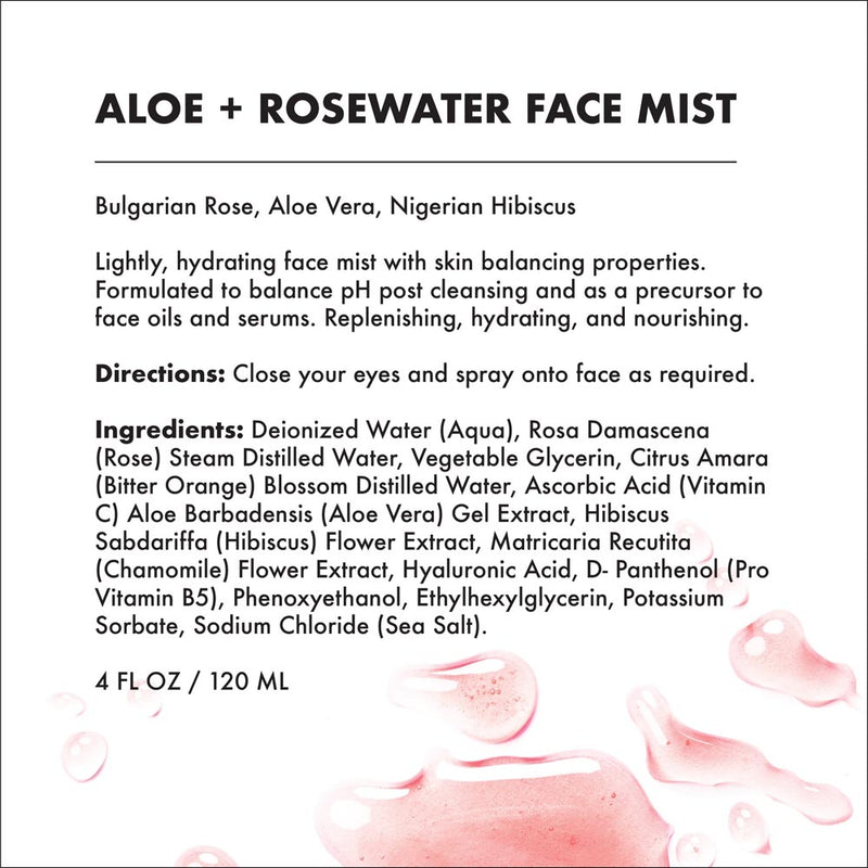 PROVENCE BEAUTY | ALOE + ROSEWATER - Balancing, Refreshing & Soothing Facial Mist (4 OZ)-Facial Mist -Provence Beauty Skincare