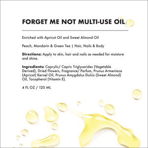 Provence Beauty FORGET ME NOT Scented Multi-use Oil for Hair, Skin and Nails - Moisturizing and Hydrating (4oz))