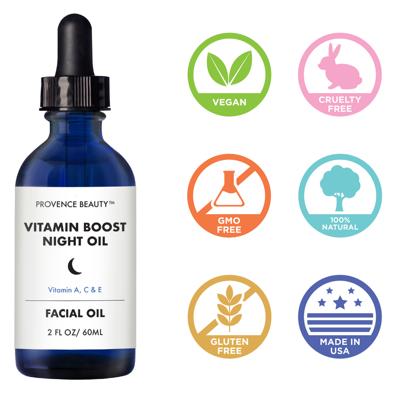 FACIAL OIL - VITAMIN BOOST NIGHT OIL-Facial Mist -Provence Beauty Skincare
