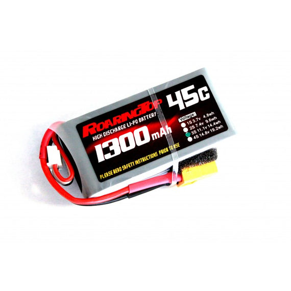 Roaring Top 1300mAh 3s (11.1v) 45C Lipo Battery - Altitude Hobbies
