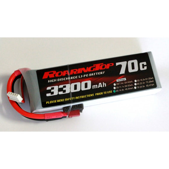 Roaring Top 3300mAh 4s (14.8v) 70C Lipo Battery - Altitude Hobbies