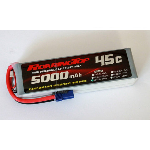 Roaring Top 5000mAh 4s (14.8v) 45C Lipo Battery - Altitude Hobbies