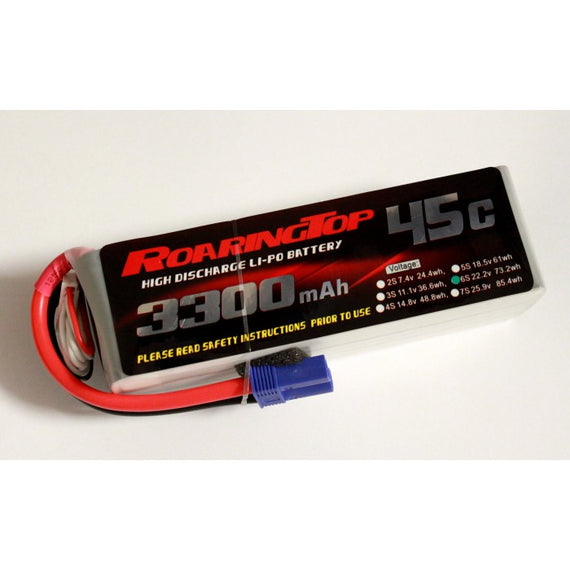 Roaring Top 3300mAh 6s (22.2v) 45C Lipo Battery - Altitude Hobbies