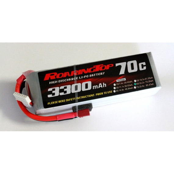 Roaring Top 3300mAh 6s (22.2v) 70C Lipo Battery - Altitude Hobbies
