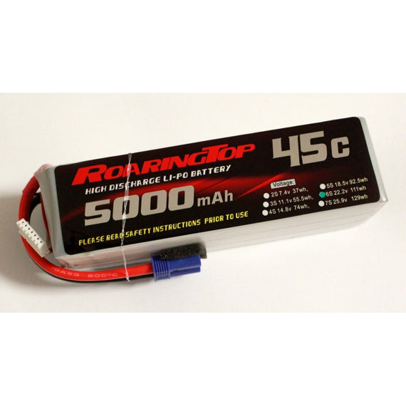 Roaring Top 5000mAh 6s (22.2v) 45C Lipo Battery - Altitude Hobbies