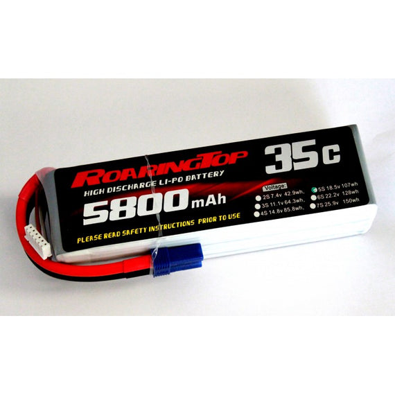 Roaring Top 5800mAh 5s (18.5v) 35C Lipo Battery - Altitude Hobbies