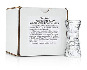 """Ritz Bar"" 1930s Etched-Glass Double Cocktail Jigger (Gift Box)"