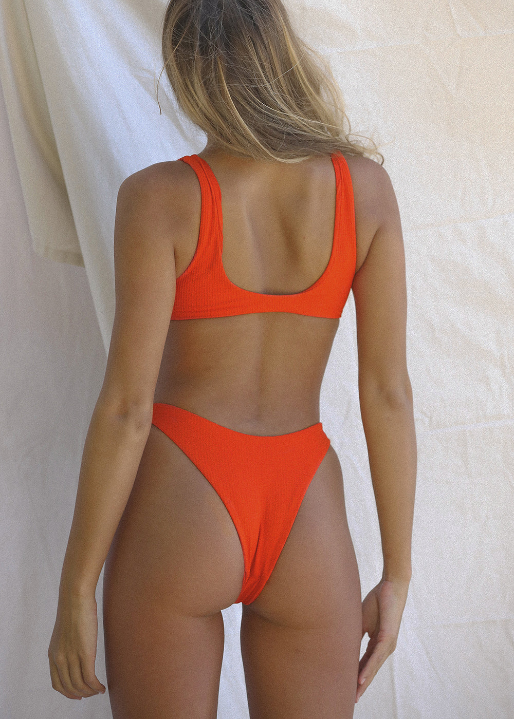 TOAST SWIM High Hip Bottom in WAFFLE |Red Orange|