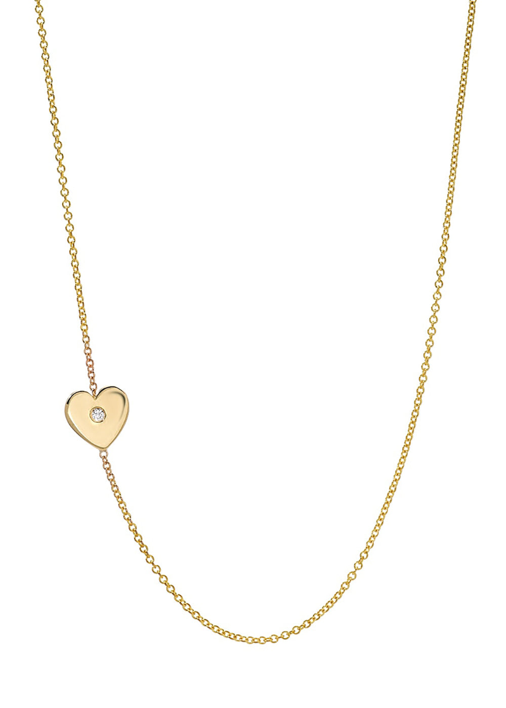 Zoe 14K Dimond Heart Necklace in Yellow Gold