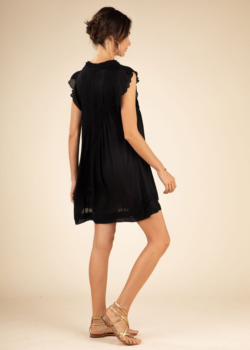Poupette St Barths Mini Dress Sasha Lace Trimmed |Black|