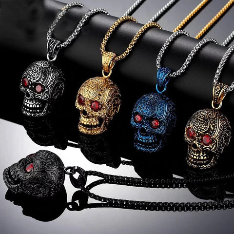 collier tete de mort mexicaine de derriere