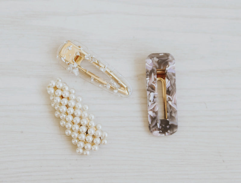 DESIGNER HAIR CLIPS PKG OF 3