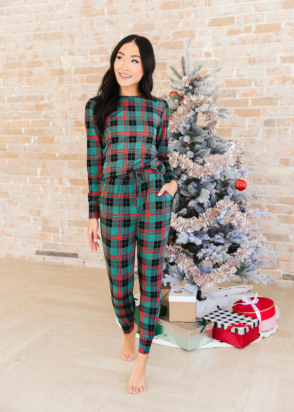 Garnet Plaid Pajama Set