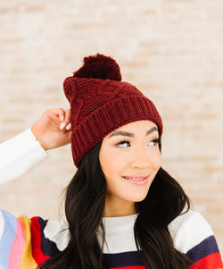 Kat Cable Knit Pom Beanie