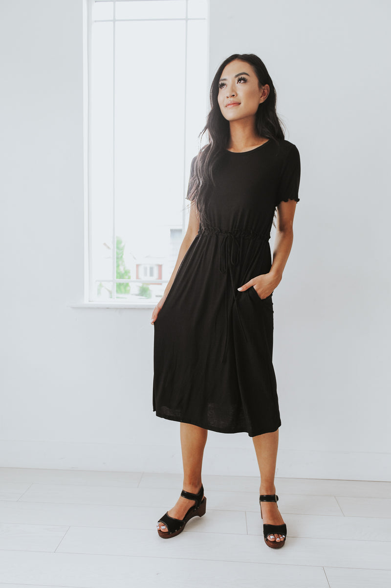 Linda Drawstring Ribbed Dress