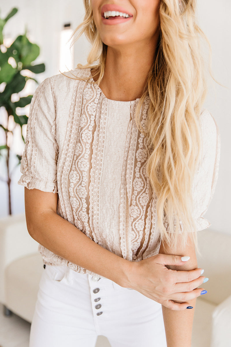 Sallie Lace Overlay Top
