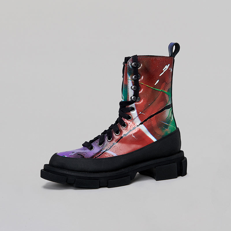 both - GAO HIGH BOOTS-GRAFFITI PRINT/BLACK