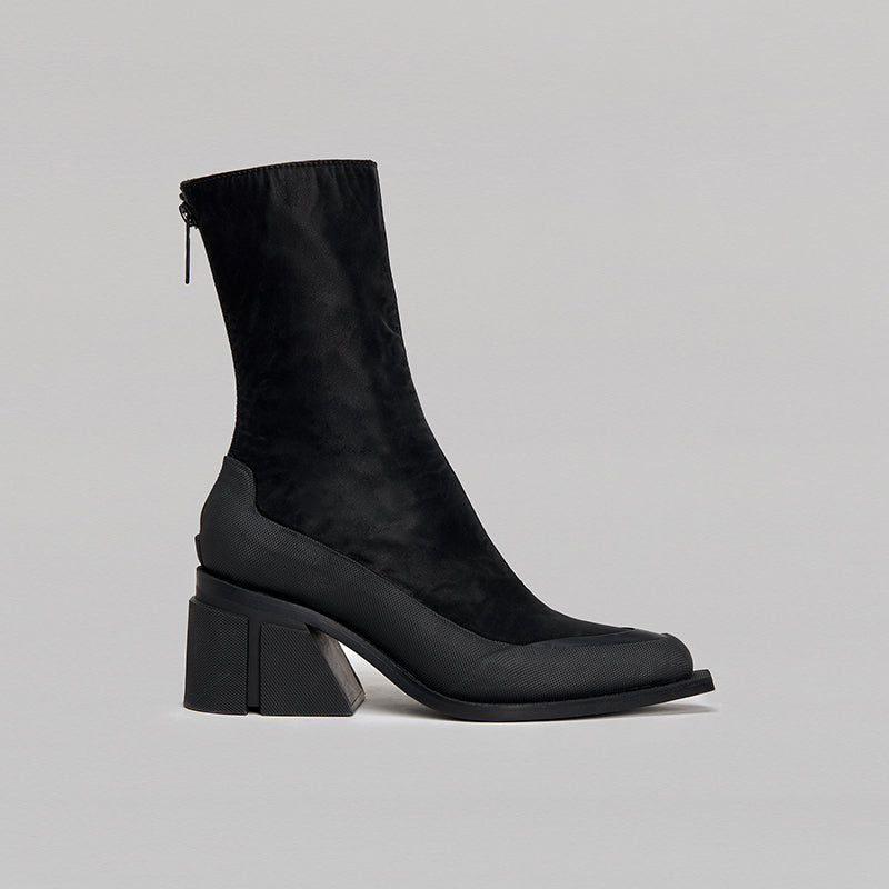 both - GAO HEEL LOW ZIP-BLACK