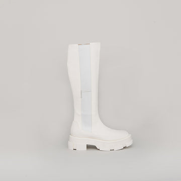 both - GAO PLATFORM KNEE BOOTS-WHITE