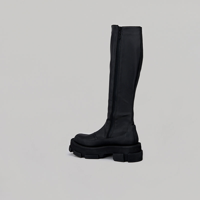 both - GAO PLATFORM KNEE BOOTS-BLACK