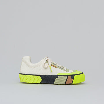 both - BROKEN-C LOW TOP-STONE WHITE/NEON YELLOW