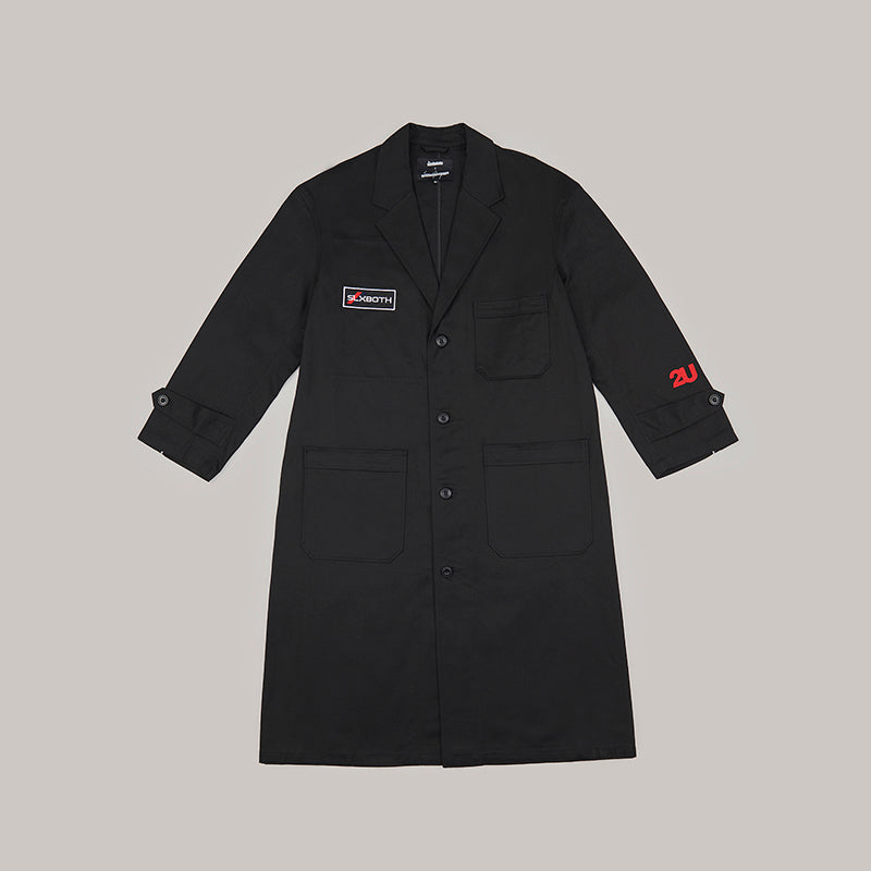 both x SECOND LAYER-SINGLE BREASTED TECHNICIAN COAT-BLACK