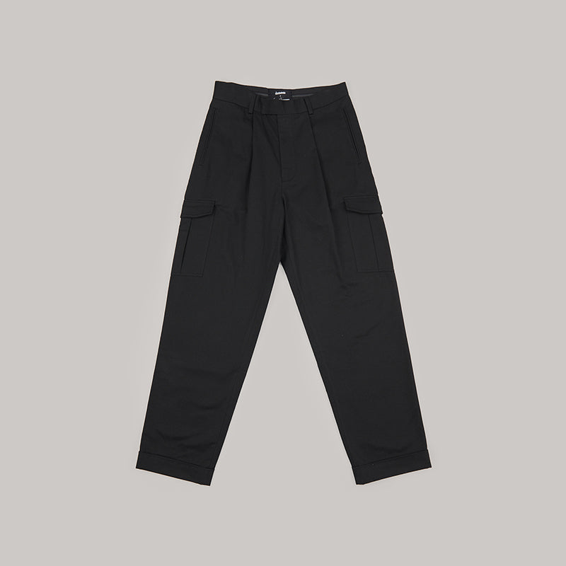 both X SECOND LAYER-POCKET CARGO PANTS-BLACK