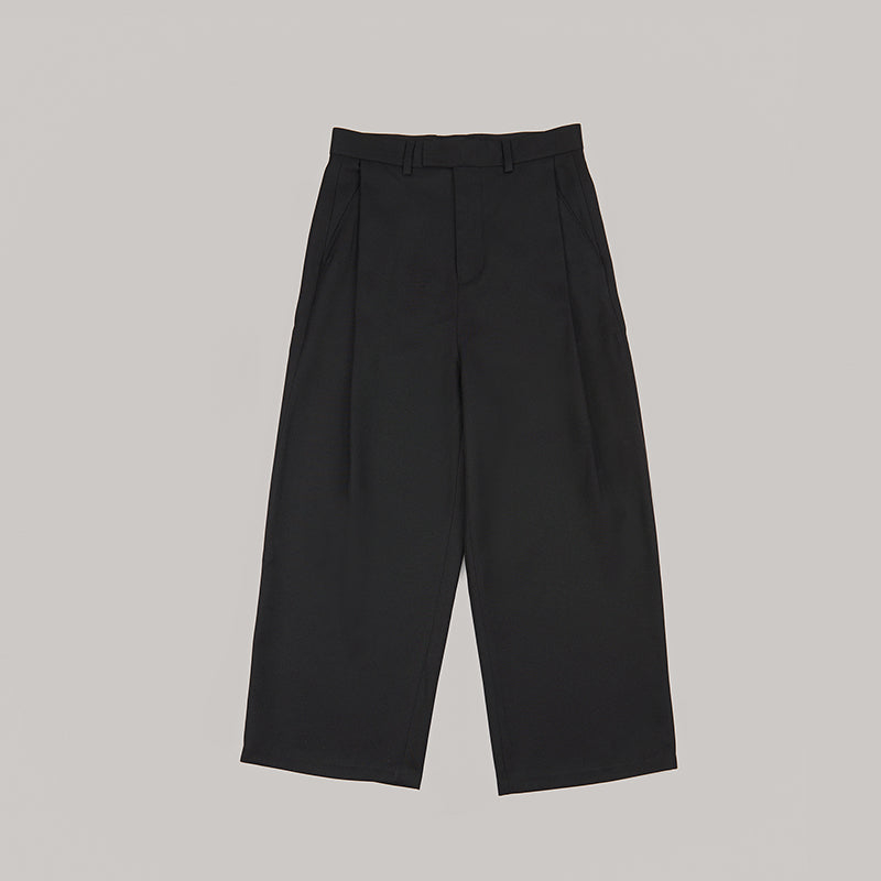 both X SECOND LAYER-WIDE PLEATED PANTS-BLACK