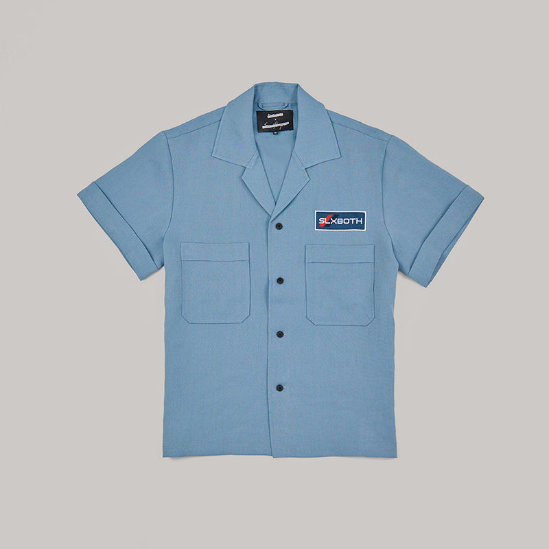 both x SECOND LAYER-POCKET BUTTON DOWN SHIRT-ARCTIC BLUE