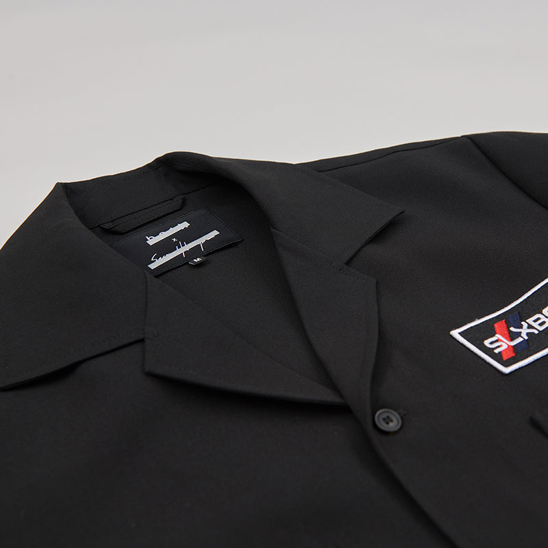 both X SECOND LAYER-POCKET BUTTON DOWN SHIRT-BLACK