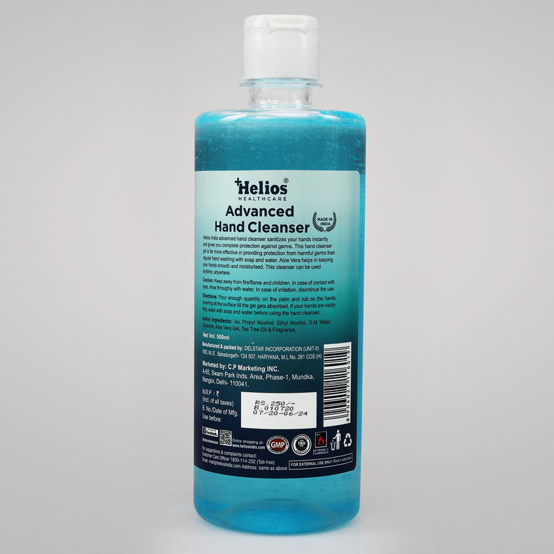 Helios Healthcare - Advanced Hand Cleanser/Sanitizer 500 ml Gel with Fliptop