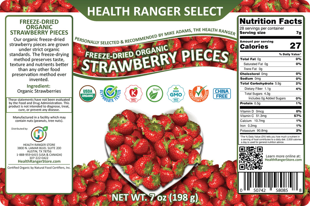 Freeze-Dried Organic Strawberries (7oz, #10 can) (2-Pack)