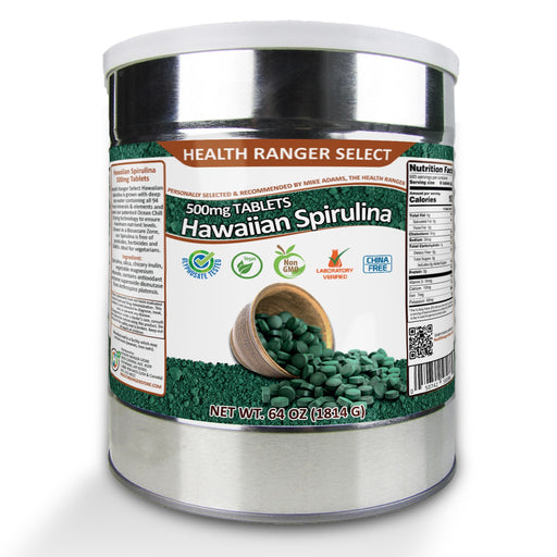 Hawaiian Spirulina Cold Pressed 500mg Tablets (64oz, 1814g), approximately 3628 tablets  (#10 Can)
