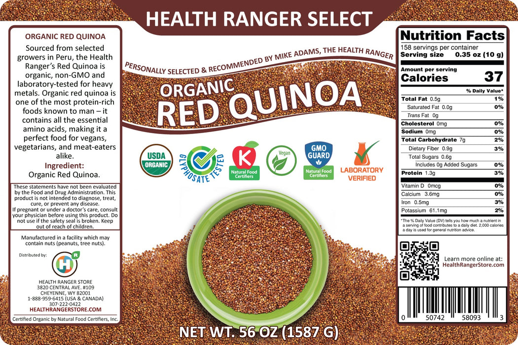 100% Organic Red Quinoa 56oz (#10 Can, 1587g) (2-Pack)