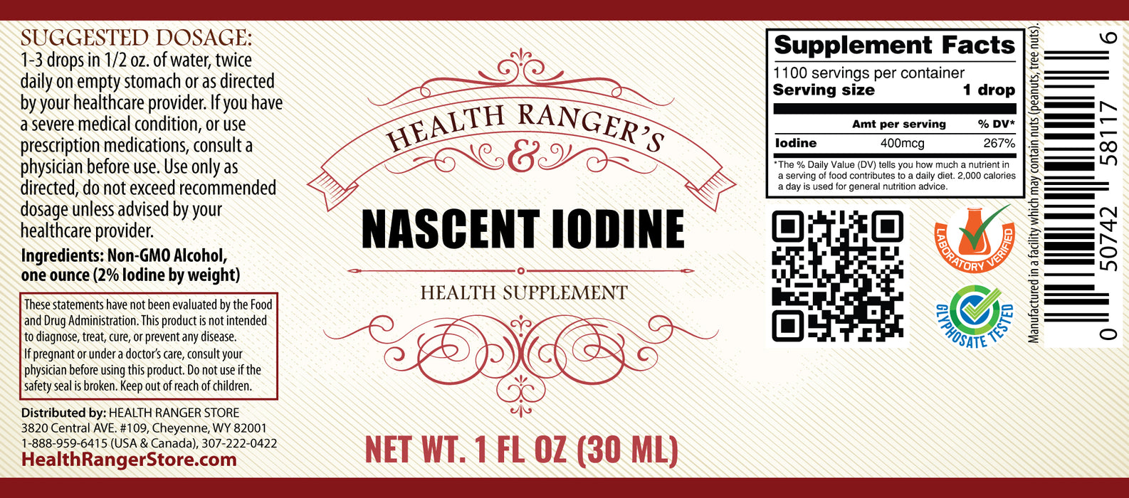 Health Ranger's Nascent Iodine 1 fl oz (30ml) - 2% Strength